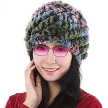 Brand Besty autumn winter thick real narural rabbit colorful rabbit hat Winter Warm Real Rabbit
