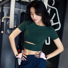2019 Women Solid Yoga Top Short Sleeve Workout T-shirt Gym Sexy Crop Tops Elastic Tight Fitness Running Sport Quick Dry T-Shirt
