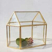 Handmade Jewelry Copper Geometric Glass Box Hang Preserved Flower Ring Earring Box Storage Big Jewelry Box