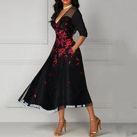 Women Floral Print Sexy Party Dress Elegant Mesh See Through Deep V Pocket High Waist Summer Vintage A Line Black Dresses Female