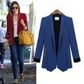 2016 Sping mulheres Blazers moda cor sólida manga longa jaqueta Slim mulheres ternos Blazer com Zipper projeto