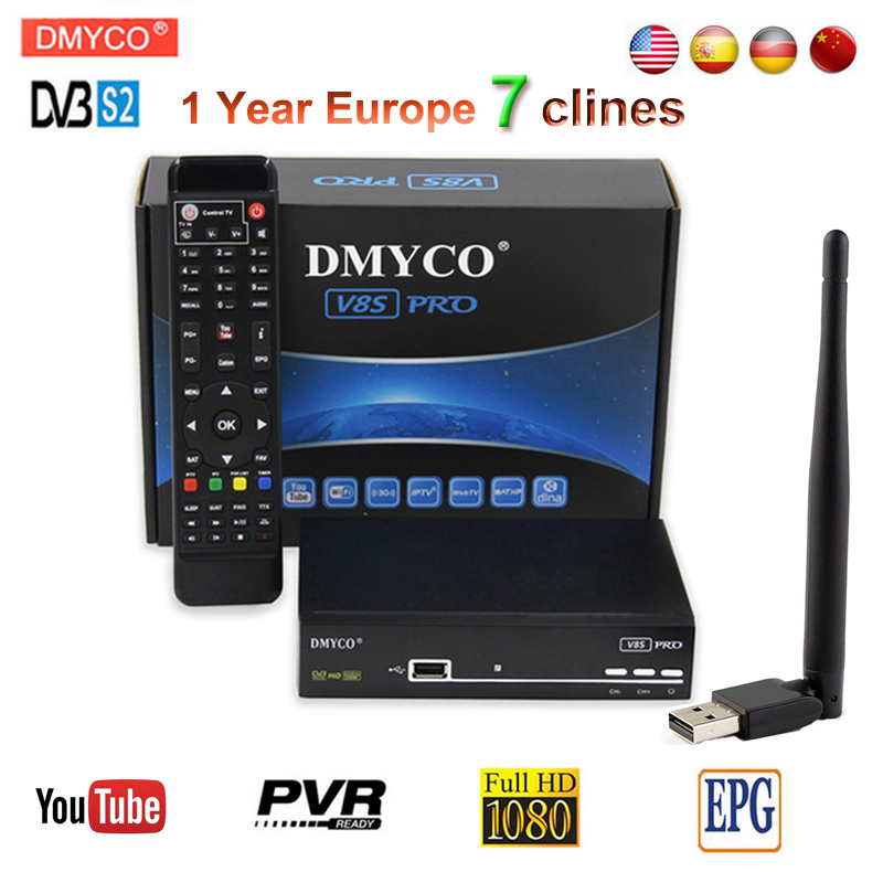 [Genuine]Newest V8S PRO DVB-S2 Satellite Receiver Full HD 1080P decoder with usb wifi+Free one year 7 Clines Europe server