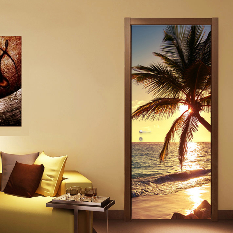 Beach Coconut Tree Sunrise Door Sticker Living Room Dining Room Romantic Home Decor Paste PVC Self-Adhesive Waterproof Stickers