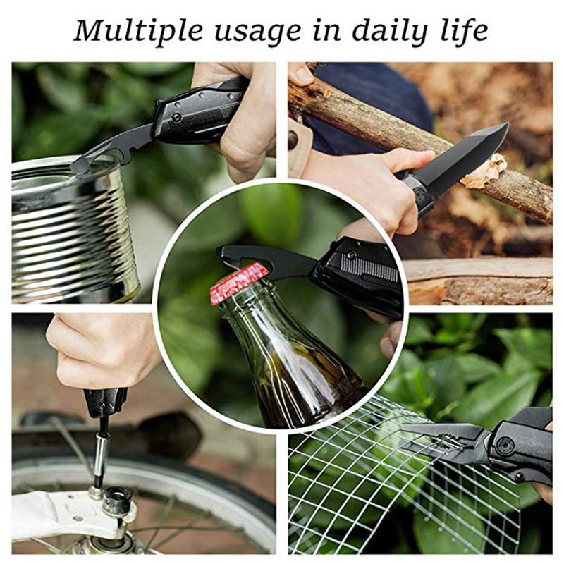 Image 5 - REIZ Multitool Folding Pocket Pliers Outdoor Camping Survive Multi functional Pliers Screwdriver Kit Bits Knife Bottle Opener-in Pliers from Tools