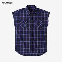 Aolamegs plaid shirt da uomo street style di moda senza maniche camicie 2017 primavera estate nuovo lato cerniera harajuku camicie camisa m-xxl