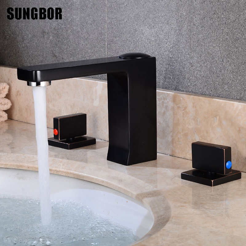 Basin Faucets Brass Brushed/black Deck Mounted Square Bathroom Sink Faucets 3 Hole Double Handle Hot And Cold Water Tap FH-00512Basin Faucets Brass Brushed/black Deck Mounted Square Bathroom Sink Faucets 3 Hole Double Handle Hot And Cold Water Tap FH-00512