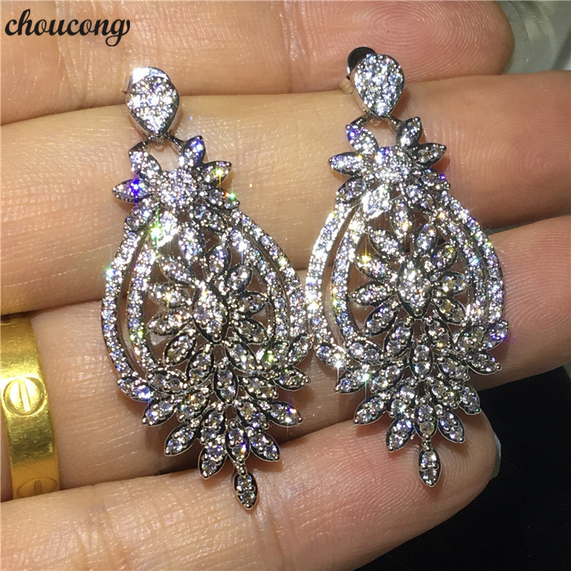 choucong Flower shape Drop earring AAAAA Cz Silver Color Wedding Dangle Earrings for women Party jewelry Gift