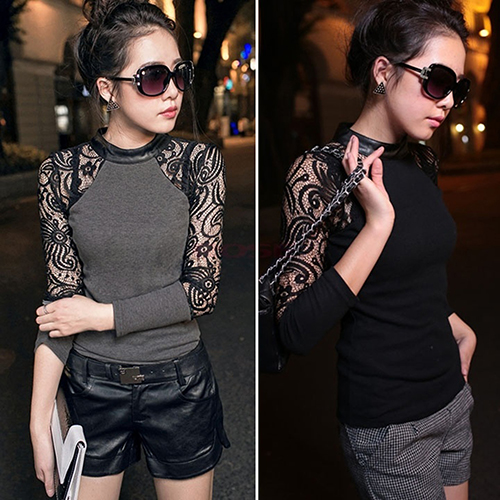 Women's Clothing Womens Fashion Baroque Sexy Lace Splicing Long Sleeve Blouse Tops Knit Shirt Aromatic Flavor