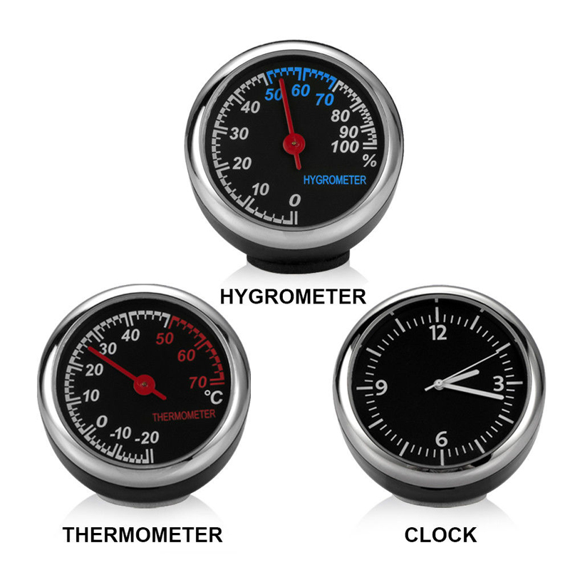 Image 2 - Round Shape Car Automobile Digital Clock Auto Watch/Thermometer/Hygrometer Car Interior Decoration Ornament Car Styling-in Clocks from Automobiles & Motorcycles