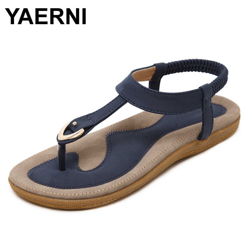 891d76c78afecc YAERNI 2017 Summer Shoes Leather Woman sandals Bohemia comfortable non-slip  soft bottom flat women