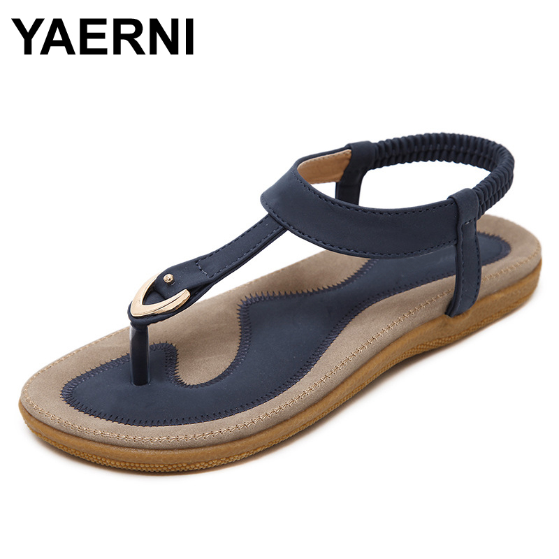 YAERNI 2017 Summer Shoes Leather Woman sandals Bohemia comfortable non-slip soft bottom flat women flip flops sandals plus size 2016 summer style transparent sandals white gauze flat point diamond women s sandals flat shoes non slip soft bottom shose