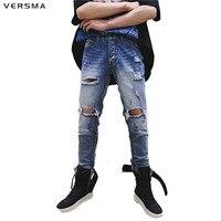 VERSMA 2017 American Style High Street GD Kanye West Jeans Pants Men Swag Hip Hop Denim Destroyed Ripped Ankle Zipper Jeans Men