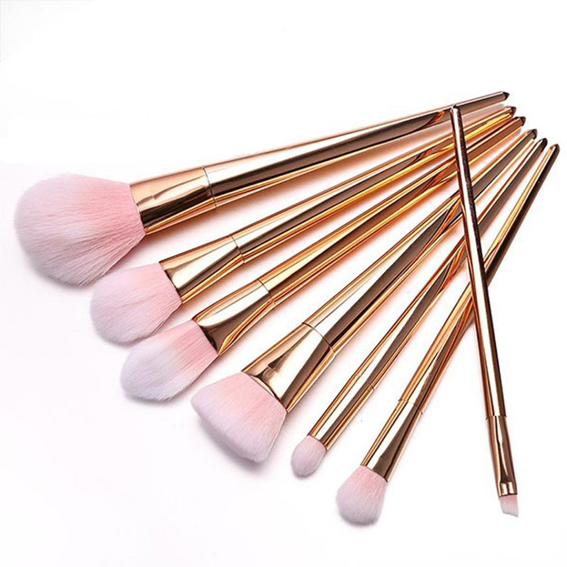 7pcs Rose Gold Unicorn Pink Hair Makeup Brushes Set Foundation Blending Powder Eye Face Brush Cosmetic Beauty maquillaje