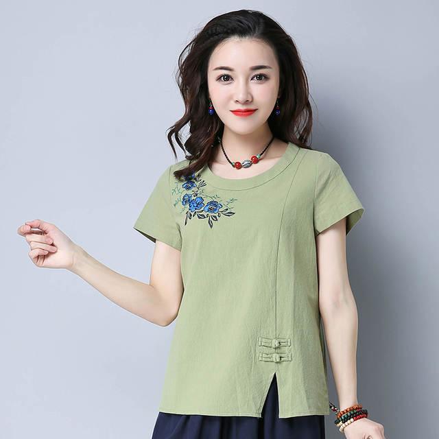 choisir officiel le plus en vogue profiter du meilleur prix Chemise Femme Cotton Women Blouses Womens Tops Embroidery Blouse Pink  Floral Shirt Short Sleeve Korean blusas mujer de moda 2018