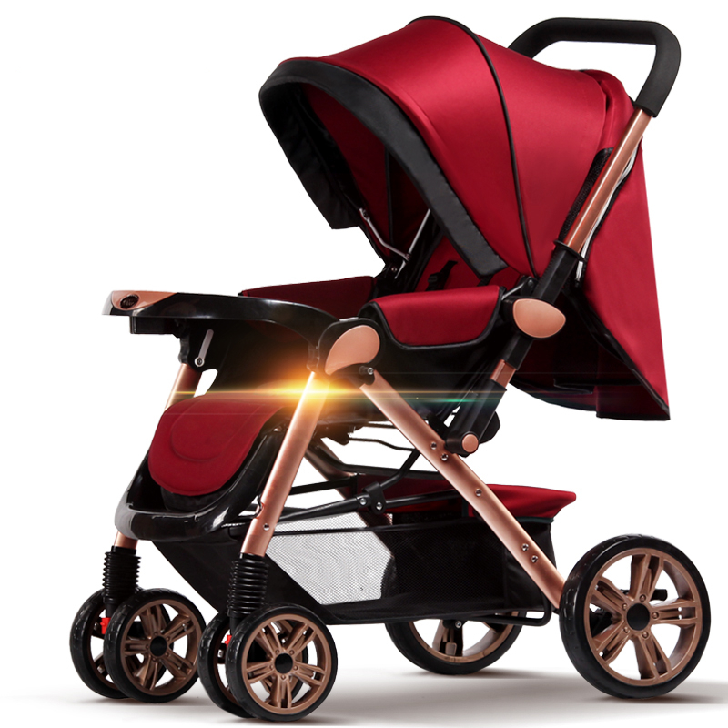 New 4 Rubber Wheels Collapsible Baby Stroller For 0-36 months Newborn, Portable Lightwei ...