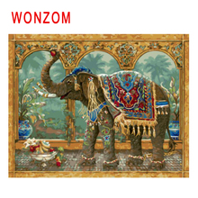 WONZOM Elephant Eat Fruit Painting By Numbers Abstract Animal Oil Cuadros Decoracion Acrylic Paint On Canvas Modern Art