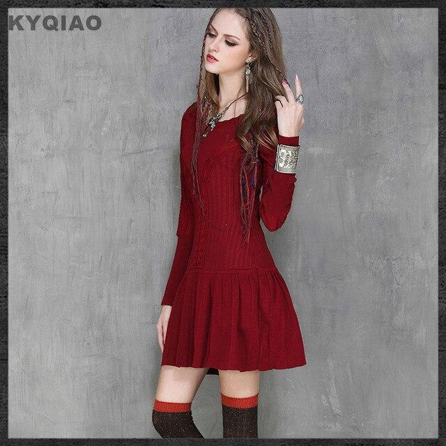 771c0e1ec36 KYQIAO Spain style vintage red black mermaid knitting dress 2019 autumn  winter boho design long sleeve sweater pullover knitwear