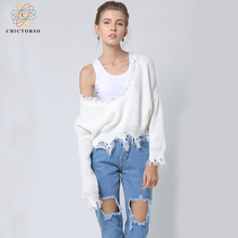 Фотография Chictorso Deep V Cozy Women Sweater Pullovers Sexy Jumpers Tassel Batwing Sleeve Slouchy Casual Summer Spring Sweaters White New
