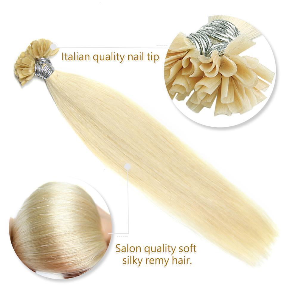 "Neitsi Machine Made Remy Straight Human Fusion Hair Nail U Tip Pre Bonded Hair Extension 16"" 20"" 24"" 1g/s Keratin Capsules Hair"