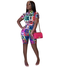 Cartoon Letter Print Plaid Two Piece Set Plus Size Clothing Bodycon Bodysuit Sexy Casual Outfits Checkered Playsuits Bike Shorts
