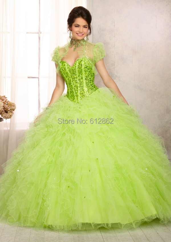 Ball Gown Organza Crystals Top Long Lime Green Prom Dresses-in Prom ...