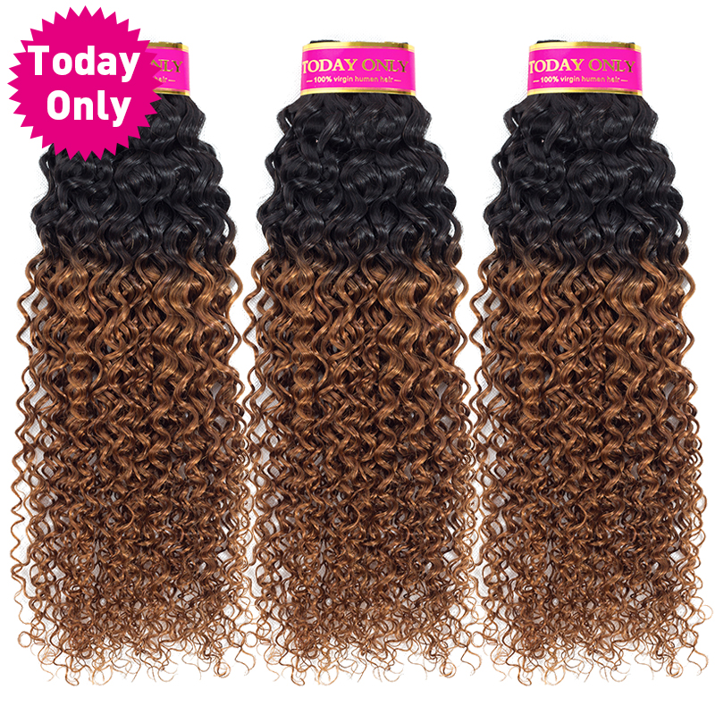 [TODAY ONLY] Mongolian Kinky Curly Hair 3 Bundles Deals Ombre Human Hair Bundles Curly Weave Human Hair Extensions 1b 30 Nonremy