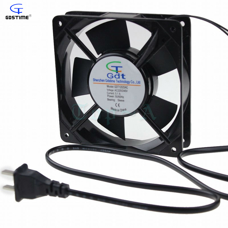 1 Piece Gdstime 12025 AC 220V 240V Power Outlet Plug 120x120x25mm 120mm PC Case Cooling Fan cooling fan 220v 120mm aa1252mb at adda 120 120 25mm 12025 12cm ac fan axial fan outlet