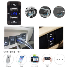 DC 12-24 V Dual USB Port Car Charger Cigarette Lighter Socket Power Adapter with LED Digital Voltmeter Meter Monitor For Honda