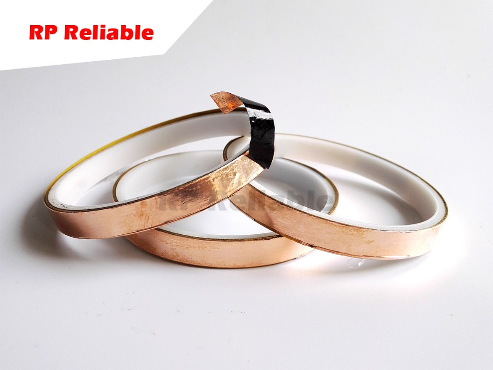 Single Sided Black Adhesive Copper Foil Tape For EMI Shielding, Guitar, Stainless Glass Art Work, 20meters/Roll, 5mm~50mm Choose