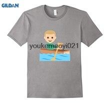 GILDAN Row Boat Emoji T Shirt Wood Paddle Lake River SteerChina