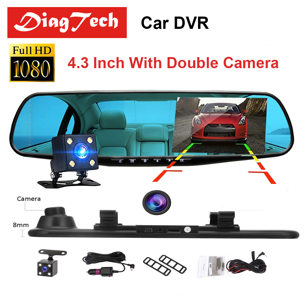Latest Car DVR Dash Camera Dash Cam 4.3'' DVR Car Mirror Dual Len HD 1080P Rear View Camera Rearview Dashcam Auto Recorder Video цена 2017
