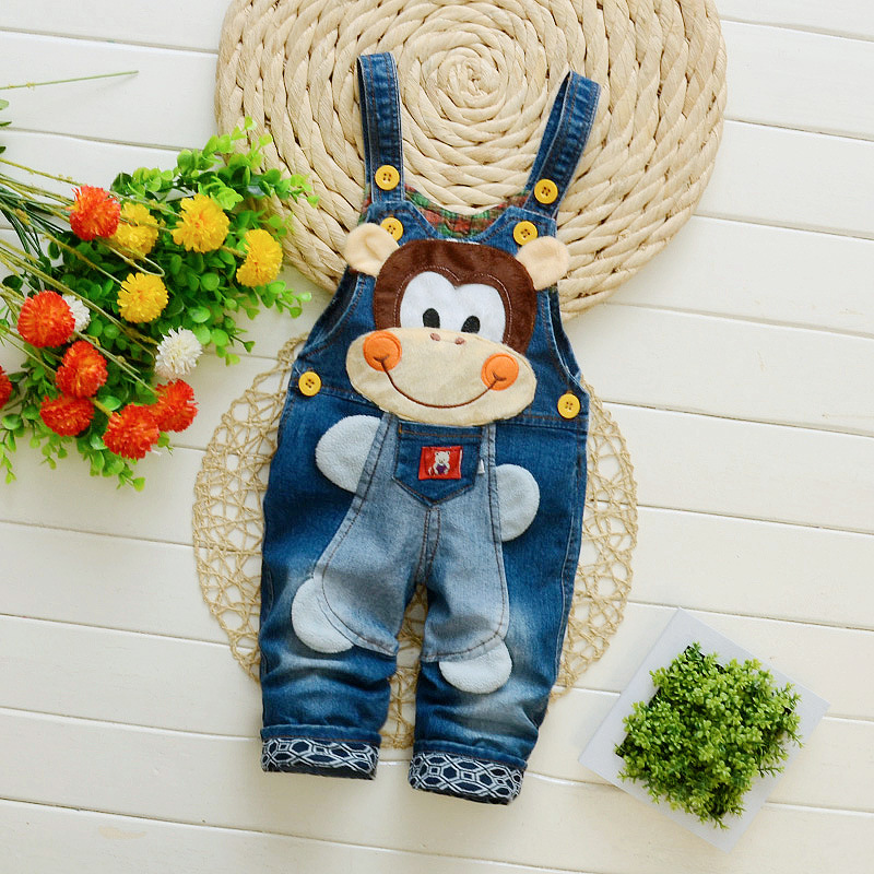 2017 Spring Cartoon cowboy Baby Belt pants cute Baby Boy Girl Boy pant High Quality Denim Overalls Infant Clothing Baby Clothes