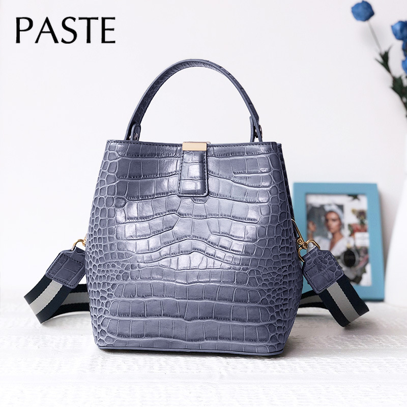 Elegant Chic Handbag Crocodile Pattern Cowhide Leather Women's Bucket Shoulder Bag 2 Strap Ladies Crossbody Bag Dropshiping-in Top-Handle Bags from Luggage & Bags    2