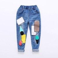 Styl Na Co Dzień Spodnie dziecięce Spodnie Jeansowe Patchwork dla Chłopiec Dziewczyny Dzieci Jesień Znosić Moda Nowy Styl Bawełna Miękkie Ciepłe Spodnie