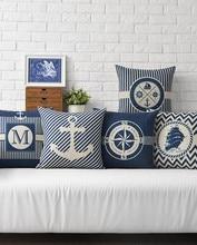 RECOLOUR  Blue marine Pillow cover Bed Sofa Cushion Cover Home decor cojines decorativos para sofa 18x18 decorative pillows