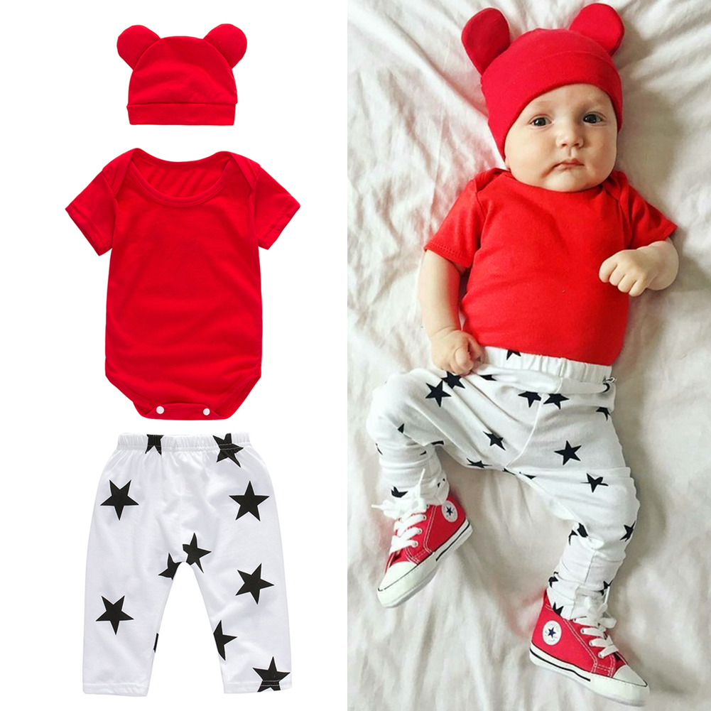 3pcs/set Baby Casual Clothes Infant Toddler Kids Short Sleeve T-shirt Tops + Star Print Pants + Hat Outfit infant baby boy girl 2pcs clothes set kids short sleeve you serious clark letters romper tops car print pants 2pcs outfit set