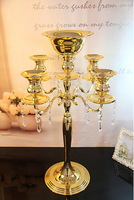6pcs/ lot H68cm wholesale gold/silver tall candle holders crystal candle holder metal lanterns wedding candelabra ZT2193