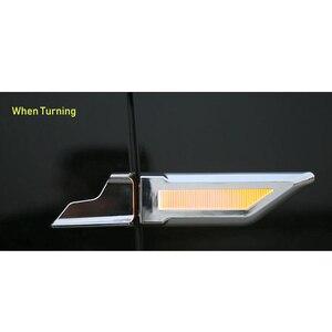 Image 3 - EANOP 자동차 범용 led 라이트 3in1 12V 자동 펜더 램프 러닝 턴 신호 주차 라이트 블루/옐로우/화이트 컬러