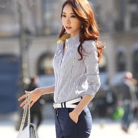 cef2a2f7bb 2014 New Vintage Striped Blouse for Women Lady Shirts Work Wear Office Woman  Top Shirt Tunic blusas femininas White,Black