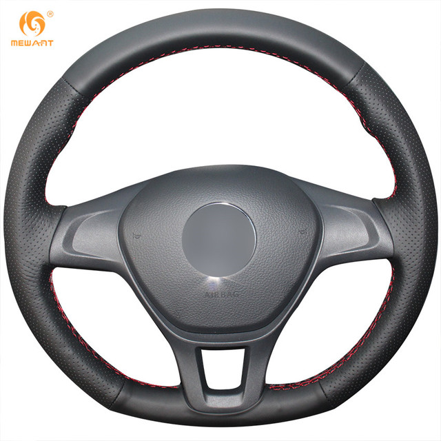 MEWANT Black Artificial Leather Car Steering Wheel Cover for Volkswagen VW Golf 7 Mk7 New Polo 2014 2015 2016 2017