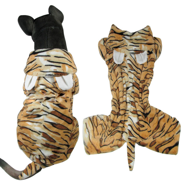 Halloween pet cat dog tiger costume clothing winter warm fleece big dog puppy jacket coat golden  sc 1 st  AliExpress.com & Halloween pet cat dog tiger costume clothing winter warm fleece big ...