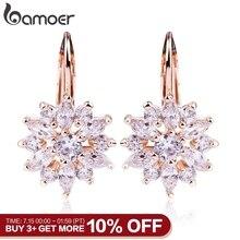BAMOER 3 Colors Luxury Gold Color Flower Stud Earrings with Zircon Stone Women Birthday Gift Bijouterie