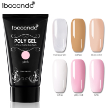 Ny 30g UV Builder Gel Polygel Transparent Vit Nail Art LED UV Soak Av Akryl Poly Gel Quick Building Extension Nail Liquid