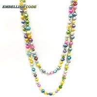 NOUVEAU baroque bas prix 120 cm cravate noués corde mixte couleur naturel perles bijoux collier triple tordu larmes tombent forme
