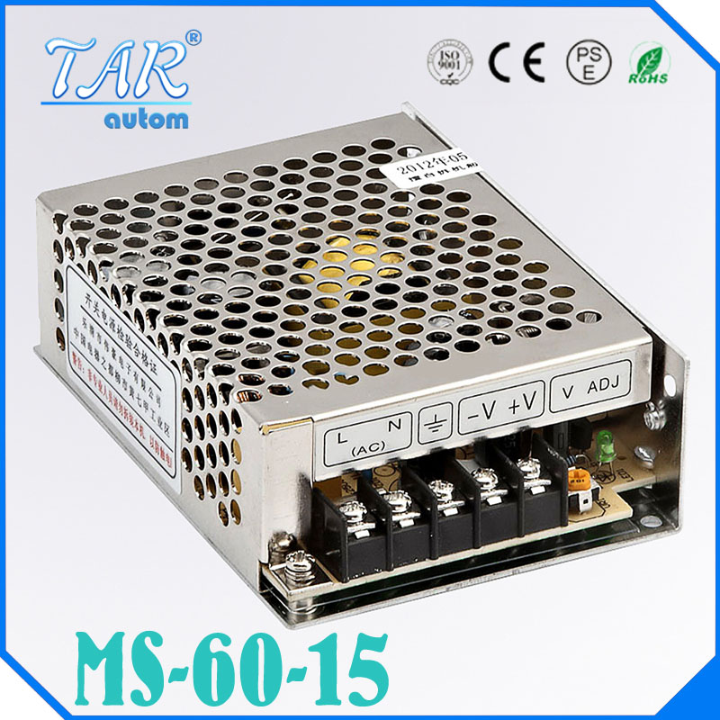 Small Volume Single Output mini size Switching power supply 15V 4A ac dc LED smps 60w output Free shipping MS-60-15 100w 48v 2 1a mini size led switching power supply transformer 220v ac to dc 48v output converter small volume smps ms 100 48