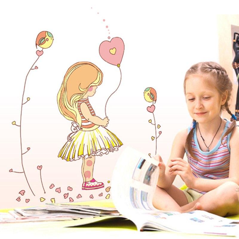 Wall Sticker Wall Decal Home Decor Adhesive Art Mural Diy Cute Girl Balloon Girl ay7084