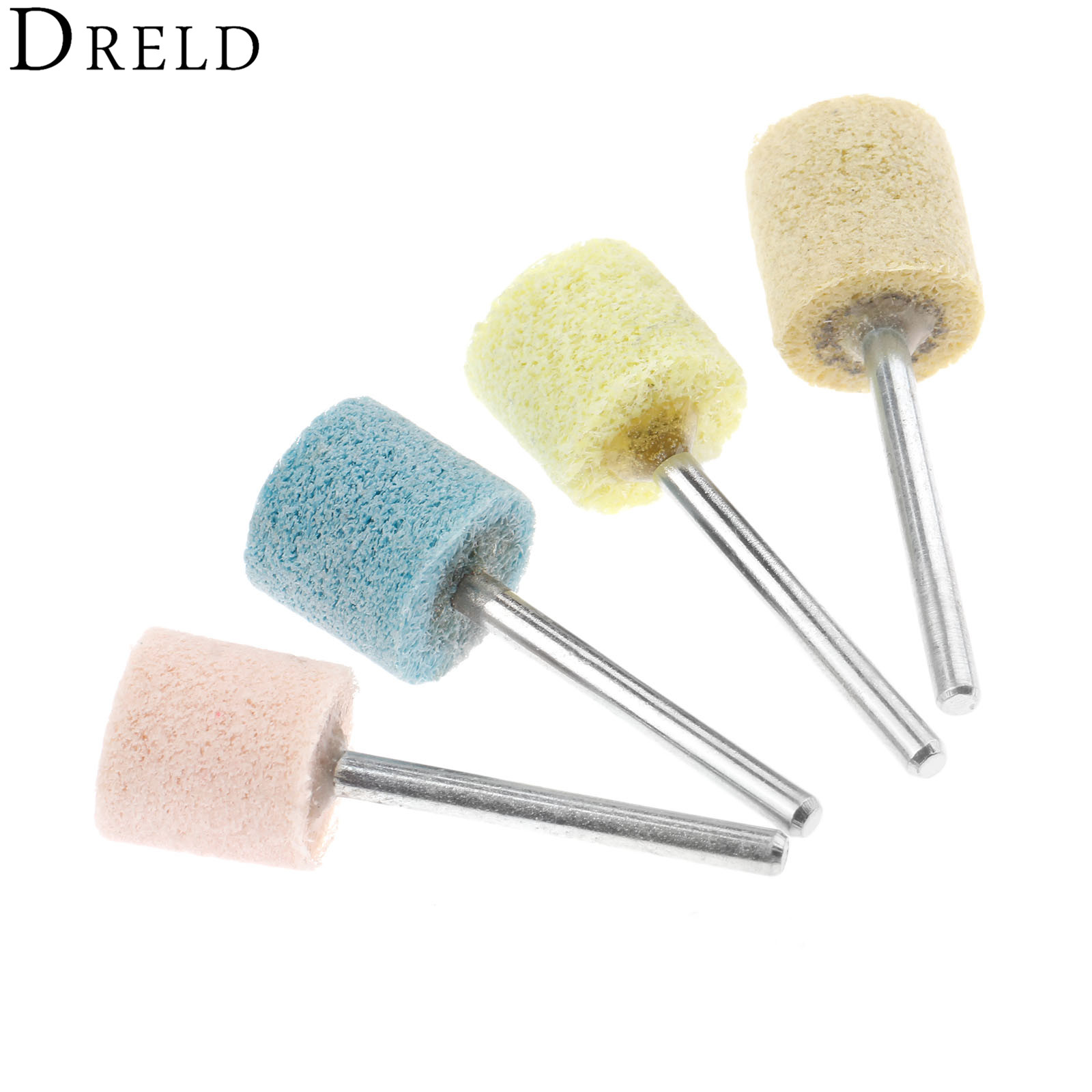 DRELD 4Pcs 3mm Shank 150-600# Nylon Abrasive Point Polishing Grinding Head Buffing Polishing Wheel For Dremel Rotary Tools