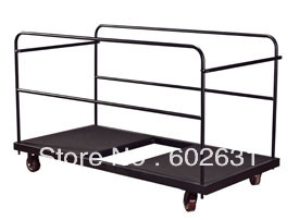 powdered metal frame Round banquet table trolley, hotel round folding banquet table