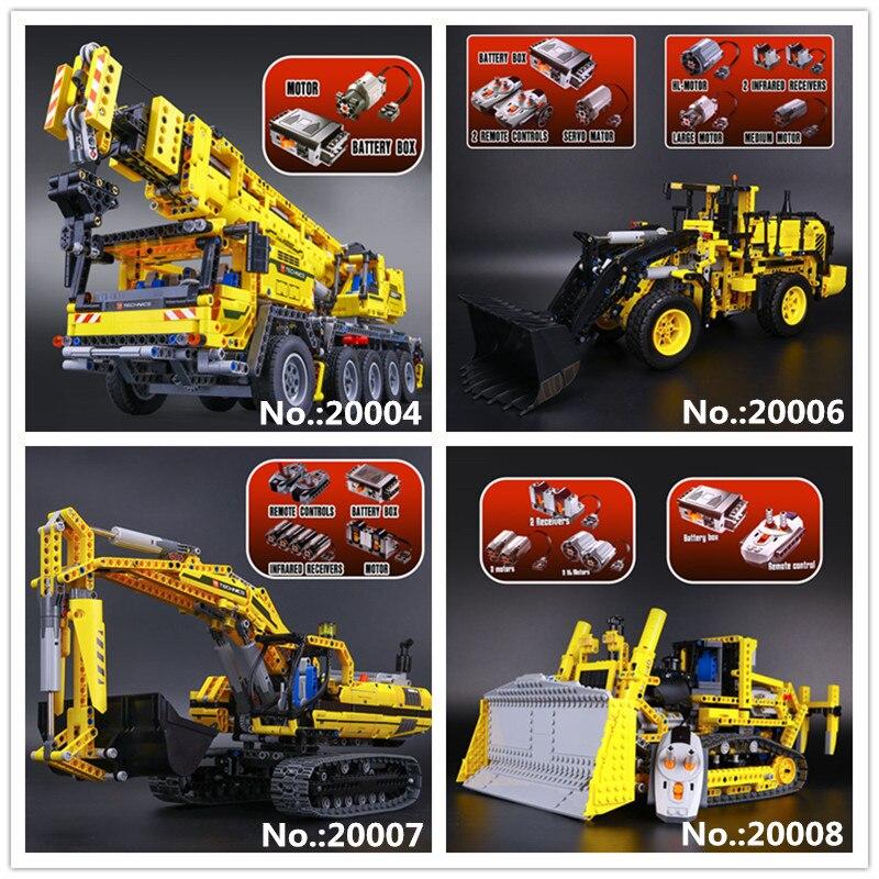 Лепин 20004 кран Mk II 20006 экскаватор L350F колесный погрузчик 20007 20008 бульдозер дистанционного управления Building Block 8043 42009 42030