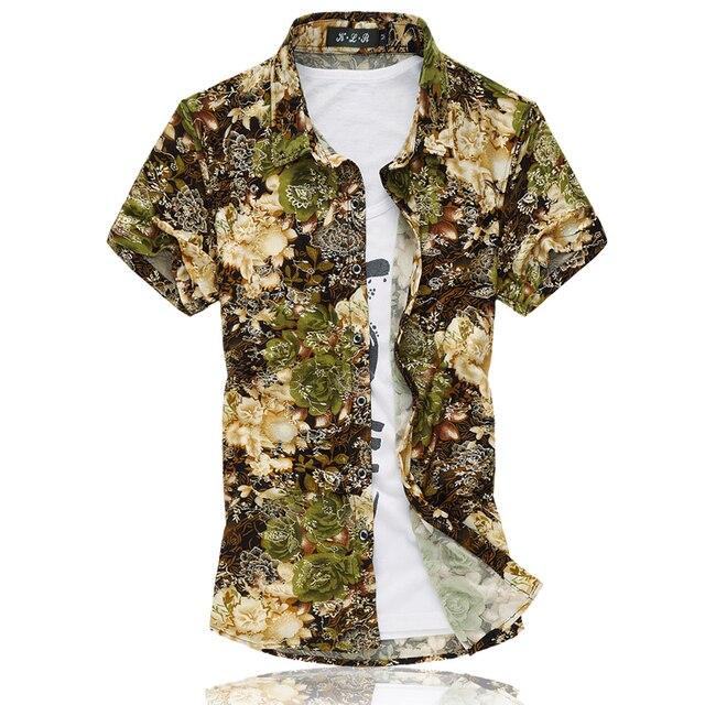 14 Цветов 2017 Мода Мужская С Коротким Рукавом Шелк Гавайская Рубашка Плюс размер 3XL 4XL 5XL 6XL 7XL Летом Повседневная Цветочные Рубашки Мужчины 50OFF
